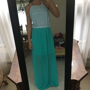 White and blue maxi dress